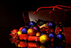 Sweets in a christmas bag Royalty Free Stock Photography