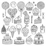 Sweets collection. Sweets and ice cream collection, vector illustration Royalty Free Stock Photo