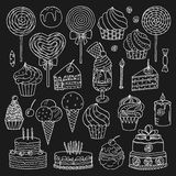 Sweets collection. Sweets and ice cream collection, vector illustration Royalty Free Stock Photography