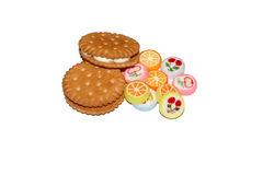 Sweets, confectionery products, cookies. Food ; candies ; dessert ; cakes ; chocolates Stock Image