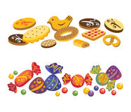 Sweets and cookies. Various sweets and cookies on a white background. You can change an arrangement of objects for the discretion Stock Photos