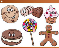 Sweets and cookies set cartoon Royalty Free Stock Photography