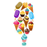 Sweets Cupcakes Composition Royalty Free Stock Photography