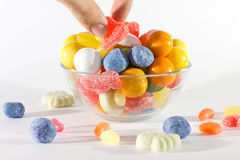 Sweets. Delicate sweets of different colors, shapes and flavors that appeal to children of all ages stock images