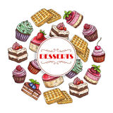 Sweets and dessert cakes vector poster Stock Photo
