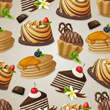 Sweets dessert seamless pattern Stock Photography