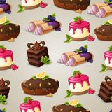 Sweets dessert seamless pattern Royalty Free Stock Photography