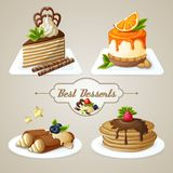 Sweets dessert set. Decorative sweets best dessert set of crepes cheesecake layered cake with syrup vector illustration Stock Image