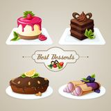 Sweets dessert set. Decorative sweets food best dessert set of crepes cheesecake layered cake with syrup vector illustration Royalty Free Stock Photos