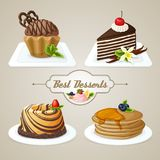 Sweets dessert set. Decorative sweets food dessert set of muffin pan layered cake brioche vector illustration Stock Photography