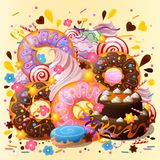 Sweets and desserts abstract background. Stylish sweets and desserts poster. Decorative abstract background stock illustration