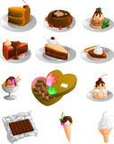 Sweets and Desserts Collection. Collection of sweets, cakes, candy, ice cream, pie and other desserts Royalty Free Stock Photo