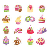 Sweets and desserts icons in spring colors Stock Photography