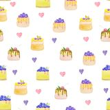 Sweets desserts pattern with shortcrust sponge cake and fruits. Decorative sweets desserts with shortcrust sponge cake and fruits. Seamless pattern royalty free illustration