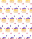 Sweets desserts pattern with shortcrust sponge cake and fruits. Decorative sweets desserts with shortcrust sponge cake and fruits. Seamless pattern stock illustration