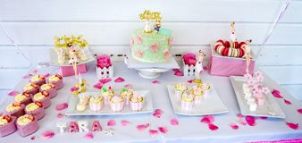 Sweets and desserts, table decorated for a party, catering servi Stock Photo