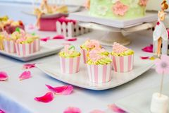 Sweets and desserts, table decorated for a party, catering servi Stock Image