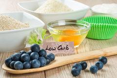 Sweets on diet: Ingredients for low carb cupcake cooking Royalty Free Stock Image