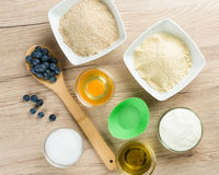 Sweets on diet: Ingredients for low carb cupcake cooking Stock Photos