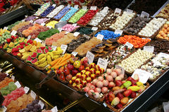 Sweets on display in shop. Colorful sweets mix displayed in shop at a market Royalty Free Stock Images