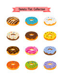 Sweets donuts flat icons. Pastry sugar glazed doughnut set with holes vector illustration Royalty Free Stock Image