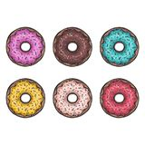 Sweets donuts sugar glazed. Vector fries pastry doughnut icons with holes isolated on white background. different flavours Royalty Free Stock Photo