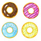 Sweets donuts sugar glazed. Vector fries pastry doughnut icons w. Ith holes isolated on white background. Dessert donut round illustration Royalty Free Stock Photos