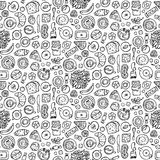 Sweets Doodle Seamless Pattern Stock Photos