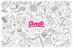 Sweets doodle set with bright lettering Stock Photos