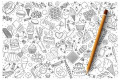 Sweets doodle vector set Stock Photography