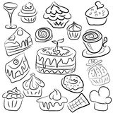 Sweets drawn by outline Stock Photography