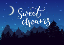 Sweets dreams. Good night wish typography on night landscape with trees silhouettes and blue starry sky and moon. Sweets dreams. Good night wish typography on vector illustration