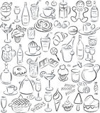 Sweets and drinks. Vector illustration of sweet food and drinks collection in black and white Stock Photography