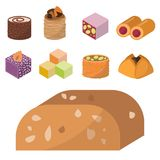 Sweets east delicious dessert food vector confectionery homemade assortment chocolate cake tasty bakery sweetness. Delights illustration. Delightful bake Royalty Free Stock Image