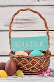 Sweets and Easter basket. Royalty Free Stock Photography