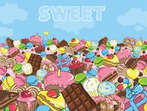 Sweets filled entire landscape to the horizon. Huge number of sweets. Sweets filled entire landscape to the horizon Royalty Free Stock Image