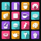 Sweets flat icons set Stock Image