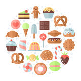 Sweets flat multicolored circle background. Minimalistic design. Royalty Free Stock Photos