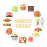 Sweets flat multicolored circle frame. Moinimalistic design (part one). Stock Photos