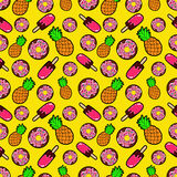 Sweets Food Seamless Pattern with Donuts, Ice Cream and Pineapples Stock Photography