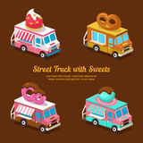 Sweets Food Truck, sweet isometric Royalty Free Stock Photos