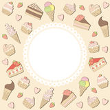 Sweets frame. Frame with cakes and ice creams Royalty Free Stock Images