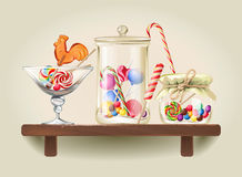 Sweets in glass jars on wooden shelf. Illustration sweet candy, sweetmeats, lollipops and bonbon are in glass jars on wooden shelf Royalty Free Stock Photos