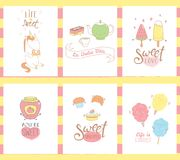 Sweets greeting cards stock illustration