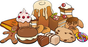 Sweets group cartoon illustration Stock Photos