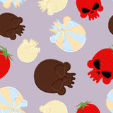 Sweets for Halloween seamless pattern. Skull made out of chocola Royalty Free Stock Photos