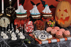 Sweets for Halloween. A variety of sweets on the table in honor of Halloween Stock Photography