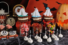Sweets for Halloween. A variety of sweets on the table in honor of Halloween Royalty Free Stock Image