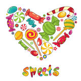 Sweets heart. Vector illustration with different types of sweets Royalty Free Stock Photos