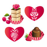Sweets and hearts. Cake and chocolate sweet, hearts with patterns in classic style Stock Photos